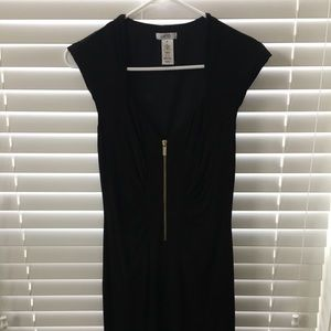 Cache Dress black with gold zipper front